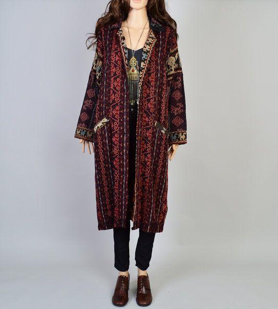 1980s ikat duster vintage jacket tribal kilim boho