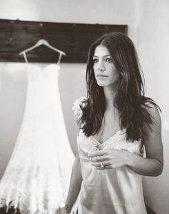 jared padalecki genevieve cortese wedding : bride getting ready , dress , wintage