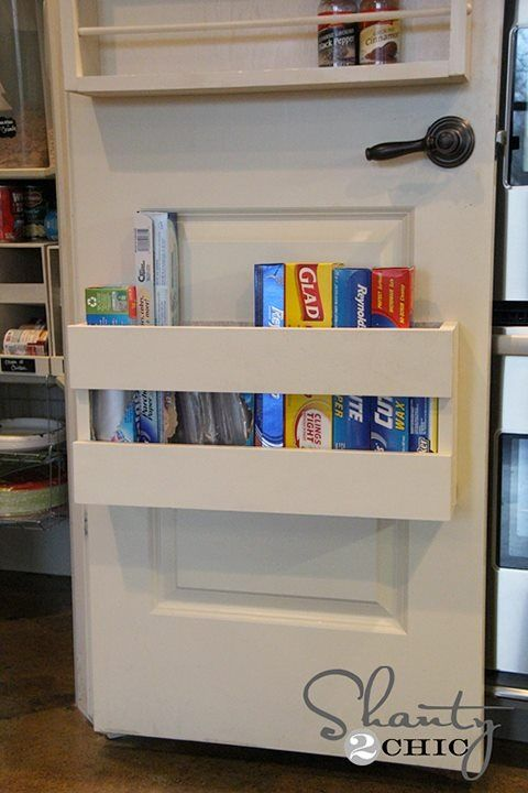 Foil, plastic wrap, and parchment/wax paper storage near the bottom of the pantry door?