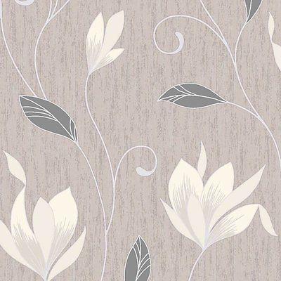 Vymura Synergy Glitter Floral Designer Wallpaper Taupe / Cream / Silver - M0782