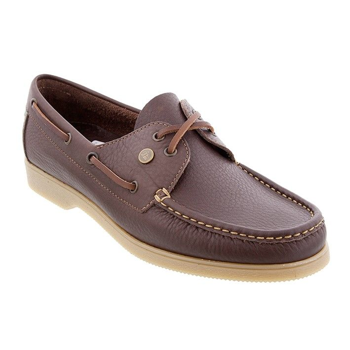 JacoMarine sejlersko i brun kalveskind med lædersnøre. Skoen har beige såler....