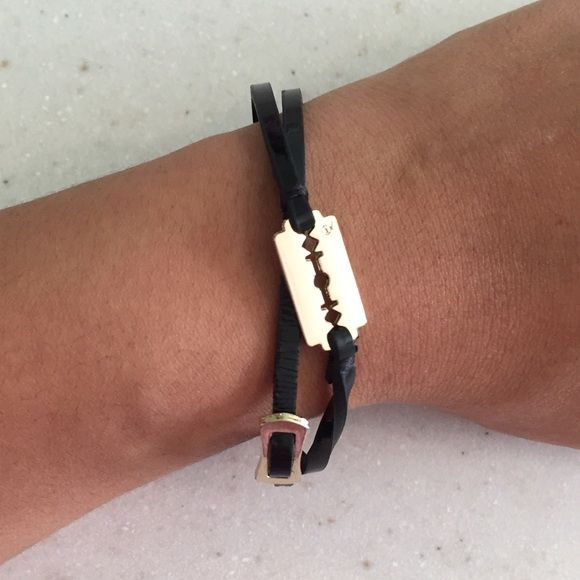McQ by Alexander McQueen bracelet McQ by Alexander McQueen wrap bracelet has a thin patent leather strap with gold small razor and gold buckle. Great condition. McQ Alexander McQueen Jewelry Bracelets