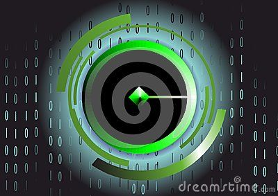 Vector technology background with green diamond and binary number sequence.
