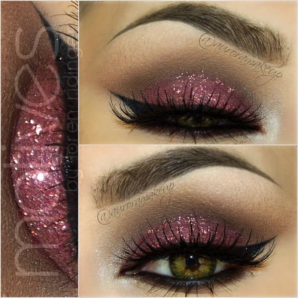 Valentines Day Eyes by auroramakeup using Motives Glitter Pots(Jewel Pink) and Black Eyeliner! #Valentine #Jewel #Eyes