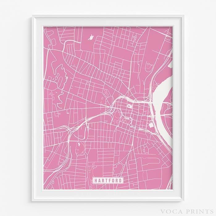 Hartford, connecticut street map print | Hartford connecticut ...
