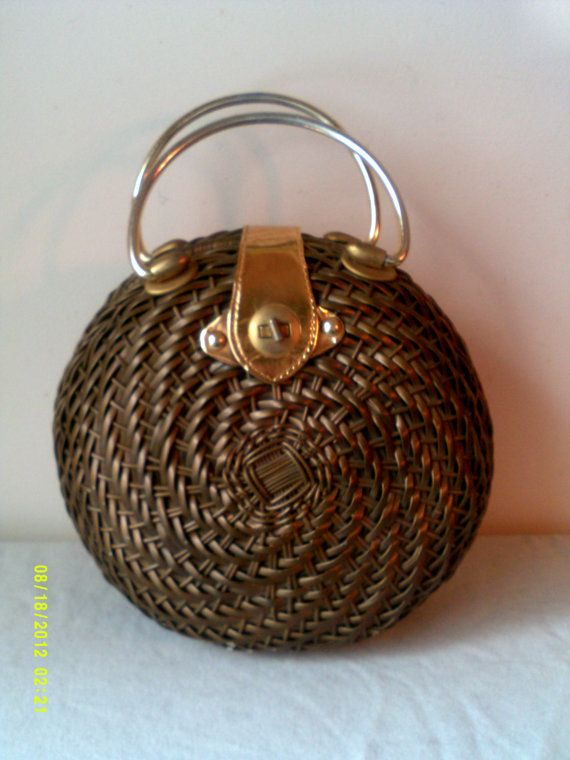 Vintage 1960s Hand Woven Rodo Glazed Round Wicker Purse- Made in British Hong Kong