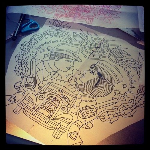 Bonnie And Clyde Chest Piece Matthouston Gastowntattoo Tattoos Flash Pinterest
