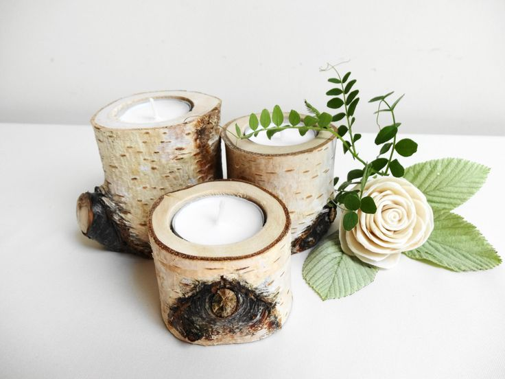 Rustic Candle Holders, Birch Candle Holders, Log Candle Holders, Branch Candle Holders,Rustic Wedding Decor, Set of 3 by DaliasWoodland on Etsy https://www.etsy.com/listing/171789537/rustic-candle-holders-birch-candle