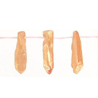 Semi-precious beads, top drilled point, peach quartz, coated, 16 inch strand