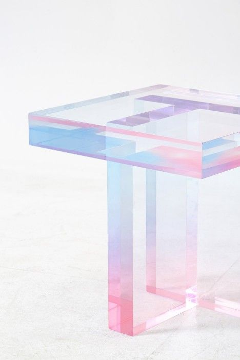 Saerom Yoon designs coloured resin tables to resemble crystals