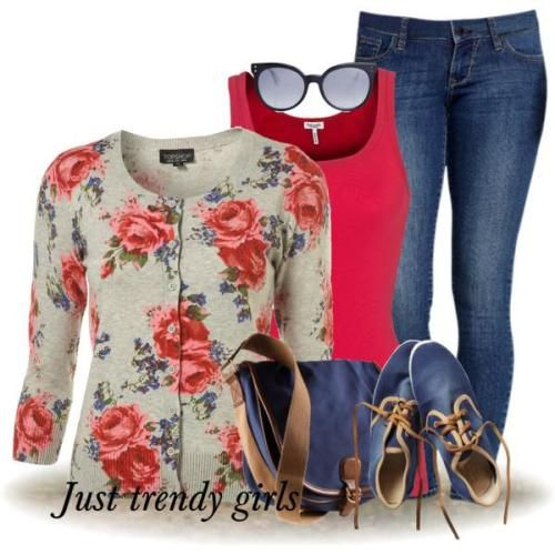 floral cardigans trend, Denim casual outfits for women http://www.justtrendygirls.com/denim-casual-outfits-for-women/
