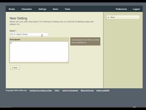 LitLift - Online writing application. Helps with research, store and organize information for your novel.