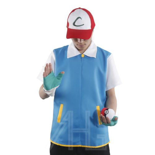 Pokemon ash ketchum trainer #costume #cosplay #shirt jacket + gloves + hat + ball,  View more on the LINK: http://www.zeppy.io/product/gb/2/201638073641/