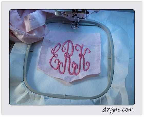Monogramme sur une poche de chemise finie   broderies Blog Eileen