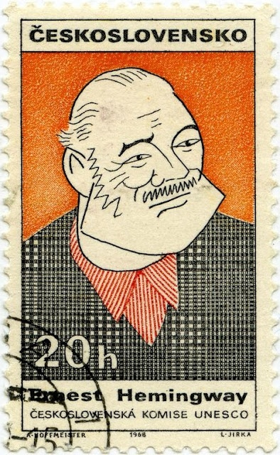 Czechoslovakian postage stamp featuring the American writer Ernest Hemingway. via Postcards from Colorado