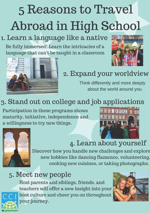 Enrich your life or that of your child with Study Abroad opportunities in high school. Whether through School to School Exchange, Independent Homestay programs, hosting a foreign exchange student yourself, or otherwise: CCI Greenheart has it all! https://www.cci-exchange.com/participants/