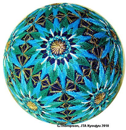 Love the color combination.  Beautiful Temari ball