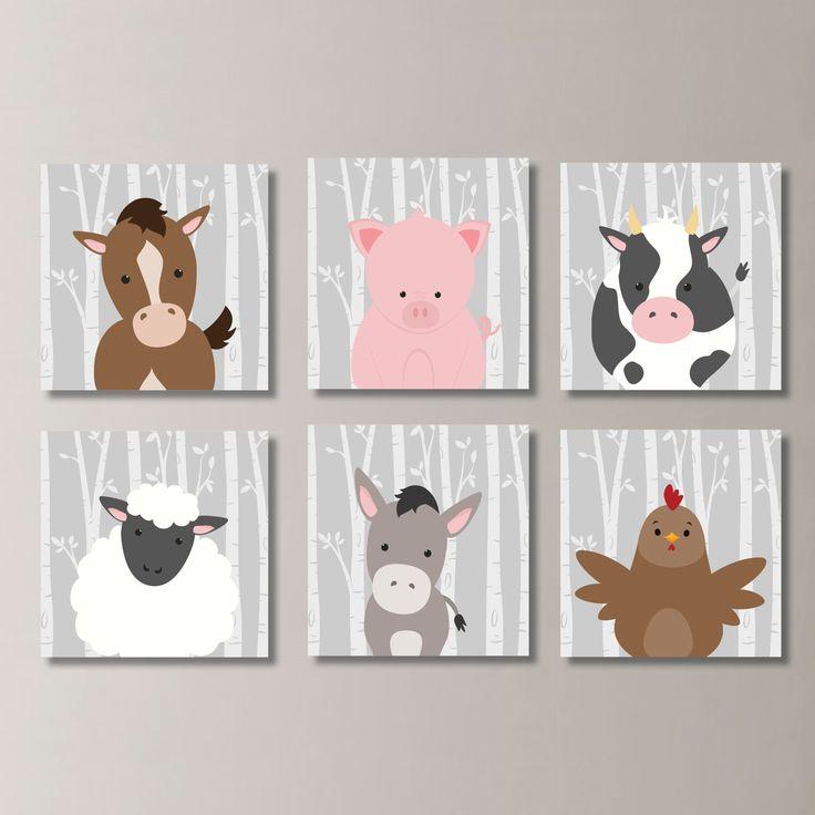 Baby Boy Nursery Art. Farm Animals Nursery Art. Farm Nursery