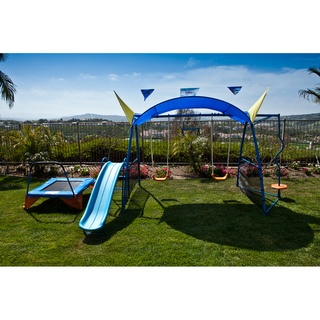 Ironkids Premier 300 Metal Swing Set with Trampoline, Spinner and Protective Sunshade | Overstock.com