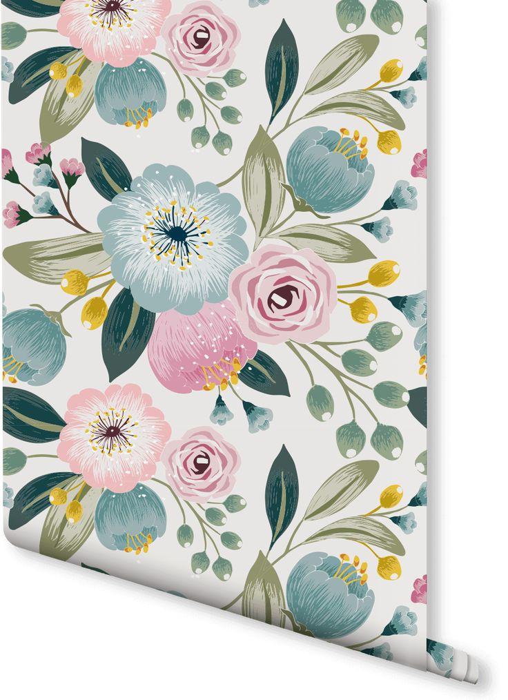 wildflower-floral-wallpaper-green