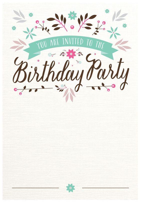 Flat Floral - Free Printable Birthday Invitation Template | Greetings Island: