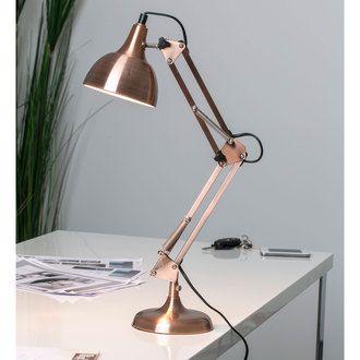 Lampe de bureau articulée en métal cuivré hauteur 60cm Mecano delamaison.fr
