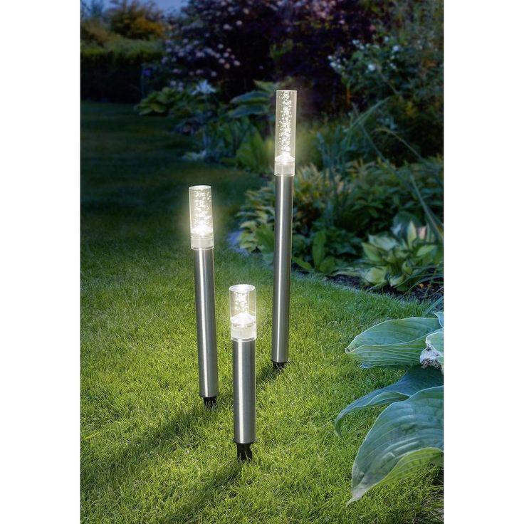 Solar-Gartenleuchte 3er Set LED Warm-Weiß Esotec Trio Sticks 102601 Edelstahl