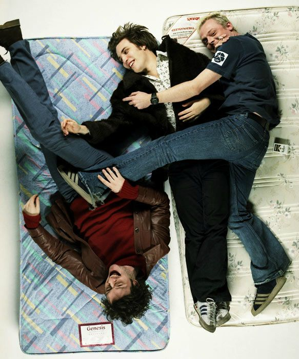 Young Julian Barratt, Noel Fielding, and Simon Pegg