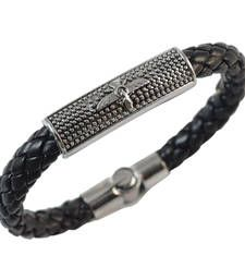 Buy Black Angel Leather Bracelet for Men Bracelet online