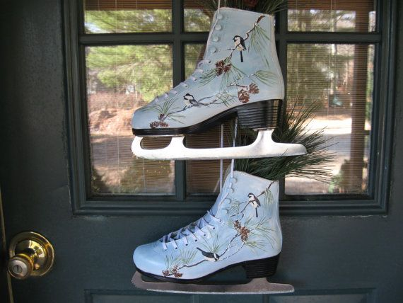 """$45 on etsy - Upcycled  Ice Skates handpainted by HandmadesbyJ on Etsy - Seller states: """"Up-cycled Ice Skates hand-painted with pine cones and Chickadees. A perfect decor item for your country home or camp. Celebrate nature all winter long! """""""
