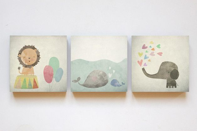 Farbe - Tier Illustrationen auf Holz 12 x 12 - ein Designerstück von fotomaedchen bei DaWanda