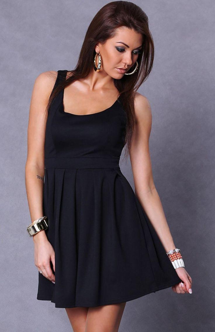 Emamoda Carli sukienka Rozkloszowana sukienka damska o prostym fasonie, idealna na każdą okazję.