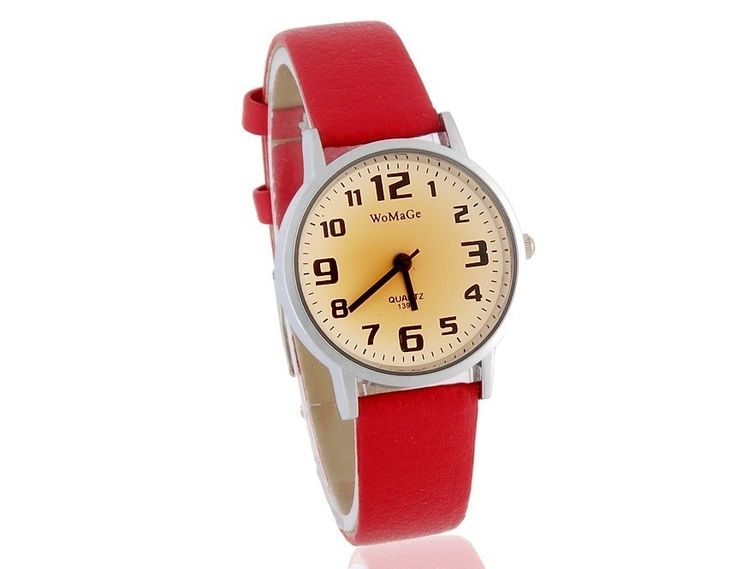 Fashion Red Women Analog Watch with PU Leather Strap Casual Wrist Watches