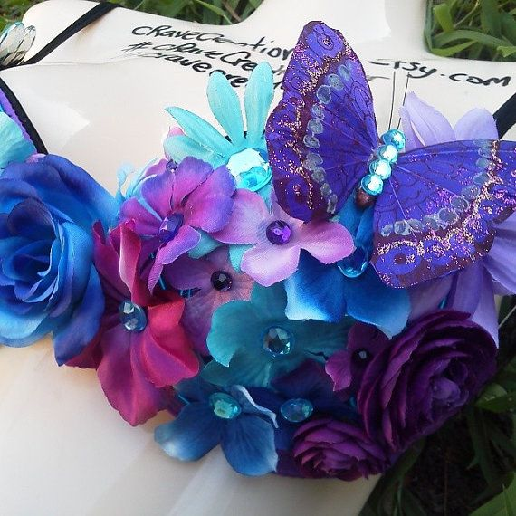Purple and Turquoise Flower Bra with Rhinestones and Butterfly with Blue EL Wire Light Up Rave Custom Daisy Rose Bling EDC Ultra on Etsy, $55.00
