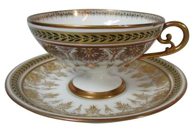 Limoges Gold Cups  & Saucers, S/6