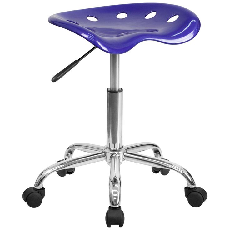 Deep Blue Office Stool with Tractor Seat and Chrome Frame