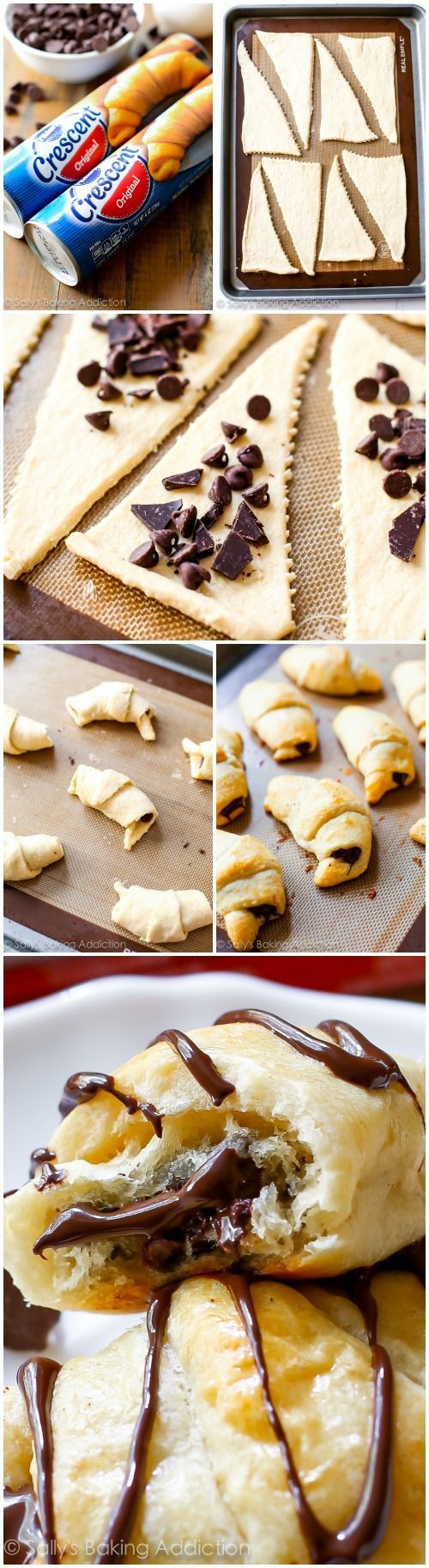 20 Minute Chocolate Crescents: These shortcut chocolate croissants could not be any easier. Filled with rich chocolate, topped with more chocolate, and only 20 minutes from start to finish.