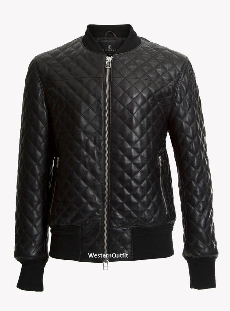 New Men's Genuine Lambskin Leather Jacket Black Quilt Slim fit Motorcycle jacket #AriesLeathers #Motorcycle