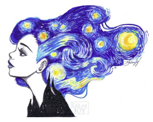 """Starry Night"" by #LeilaniJoy inspired by #VincentVanGogh for day 3 of #BadApples12Days Drawing Challenge! (Original has already SOLD, but I'll be making prints due to popular demand!) Stay tuned to www.etsy.com/shop/LeilaniJoyArt for these! Now I..."