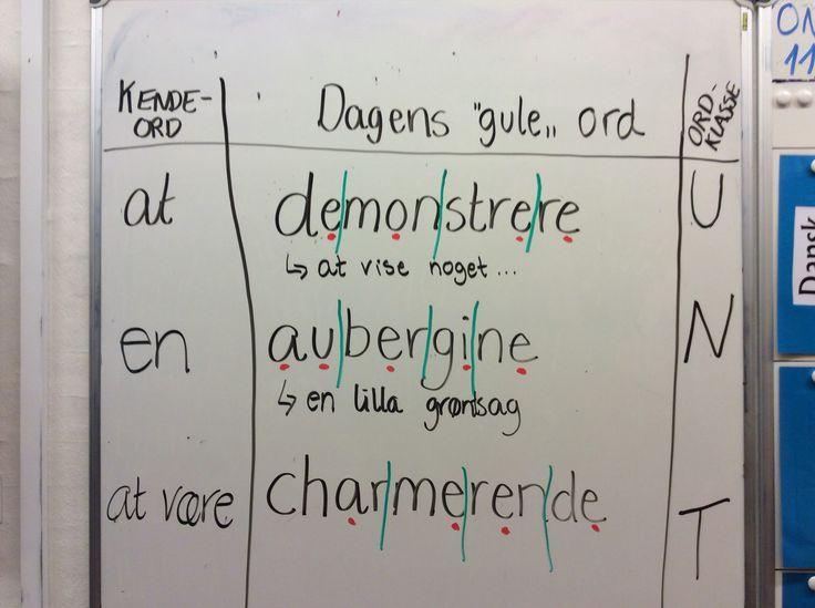 """""""Dagens ord"""" fra de """"gule-kan-næsten"""" ord. En elv har trukket tre tilfældige ord, fundet ordklassen, sat kendeord foran, prikket vokaler, delt ordene og forklaret dem... Evalueringen er i fællesskab i klassen. Tommeltot op hvis man kan alle tre ord, lige ud tommeltot hvis ét eller flere ord skal øves igen..."""