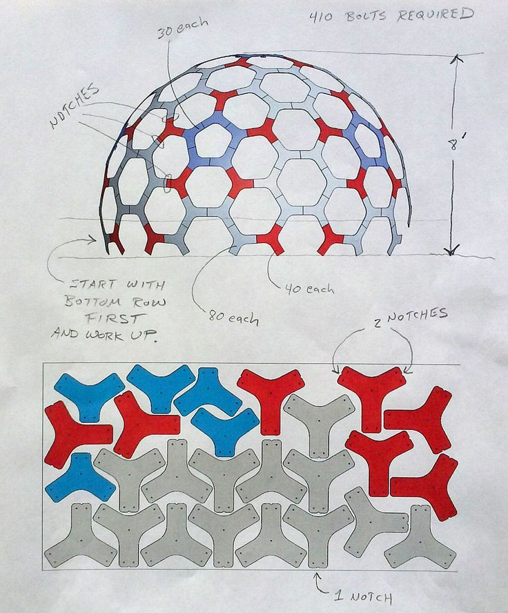 12' diameter geodesic dome.  CNC part layout on 4'x8' plywood with assembly notes.  Designer - Robert Clark.