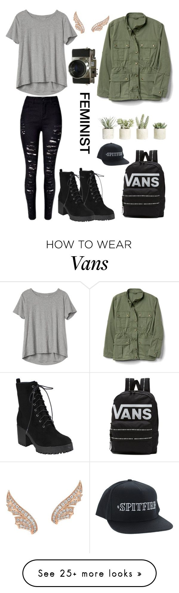 """rebel with a cause"" by bambi1616 on Polyvore featuring Gap, Vans, Allstate Floral, Stephen Webster and MyFaveTshirt"