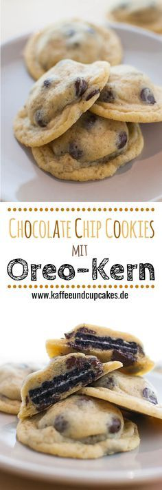 Chocolate Chip Cookies mit Oreo-Kern. In diese leckeren Chocolate Chip Cookies ist jeweils ein ganzer Oreo eingebacken!