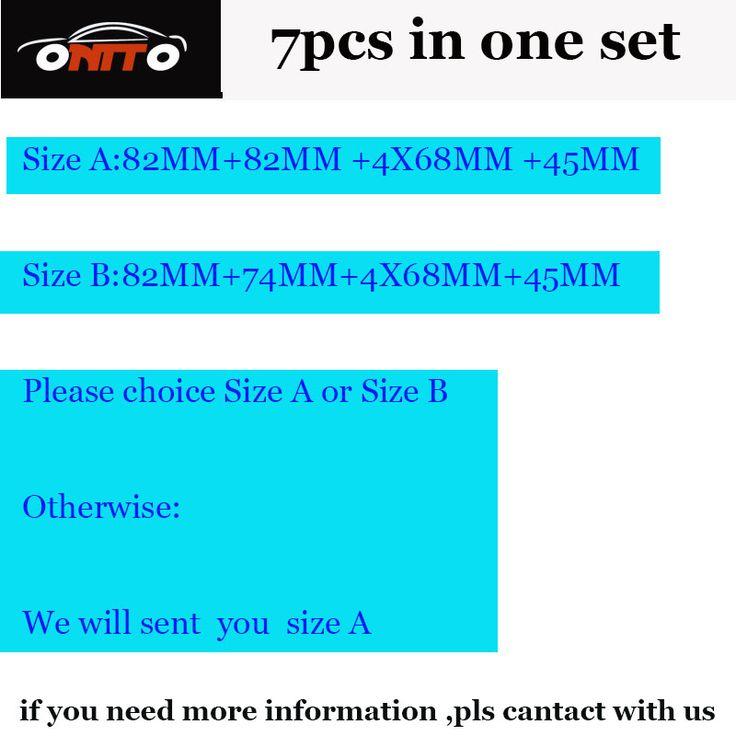 High Practicality PVC 7pcs/lot emblem kit 82mm 74mm 4x68mm 45mm steering wheel sticker caps Choice Size A or Size B car caps