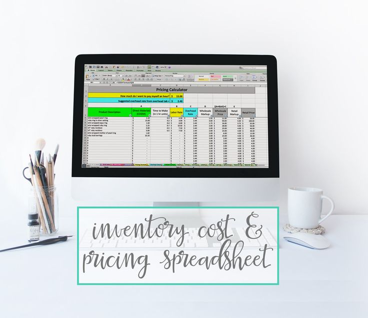 Inventory Cost & Pricing Spreadsheet - pricing template inventory tracking and cost of goods calculator for makers (39.99 USD) by paperandspark