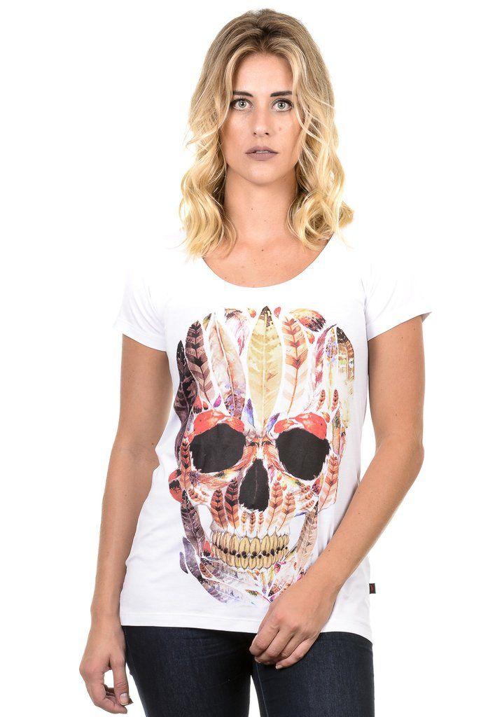 Camiseta Feminina Caveira Penas