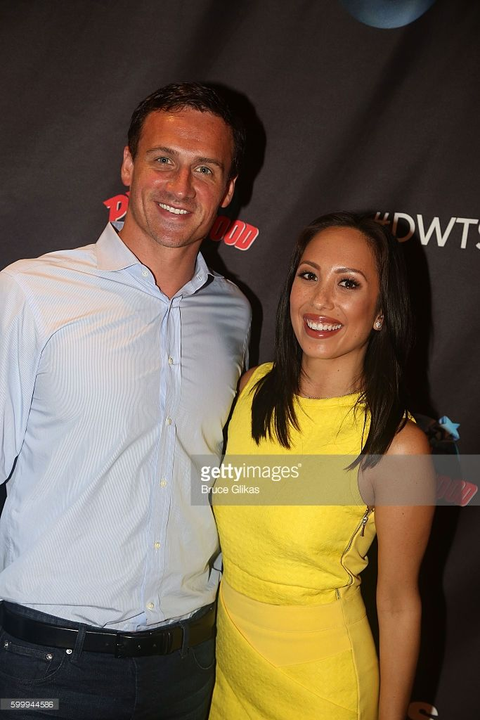 Ryan Lochte and Cheryl Burke pose as Season 23 of 'Dancing With The Stars' meets the press at Planet Hollywood Times Square on September 7, 2016 in New York City