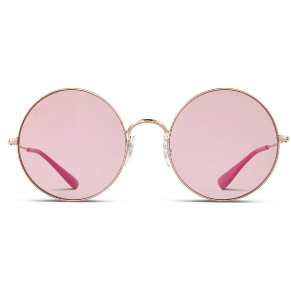 Ray-Ban 3592 Gold w/Pink (Non-Rx-able) ($165) ❤ liked on Polyvore featuring accessories, eyewear, eyeglasses, hippy glasses, ray ban eyewear, pink glasses, ray ban glasses and nose pads glasses