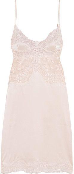 Stella McCartney - Kate Kissing Leavers Lace-paneled Stretch-silk Chemise - Pastel pink