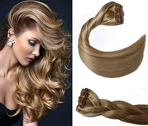 New Aison Clip Human Hair Extensions 22 inch Mixed Bleach Blonde Ombre Clip Extensions Balayage Hair Extensions Double Weft Remy Human Hair 9A grade Brazilian Hair Straight 7pcs 120g online shopping